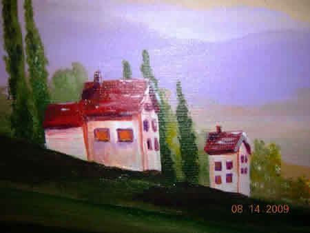 Landscape Painting Detail Houses