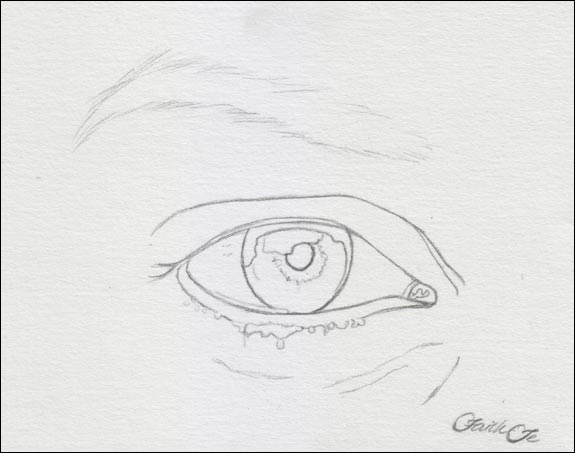 Female eye pencil drawing tutorial step 1