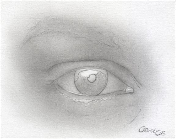 Female Eye Pencil Drawing Tutorial Step 4