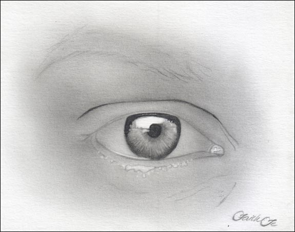 Female Eye Pencil Drawing Tutorial Step 7