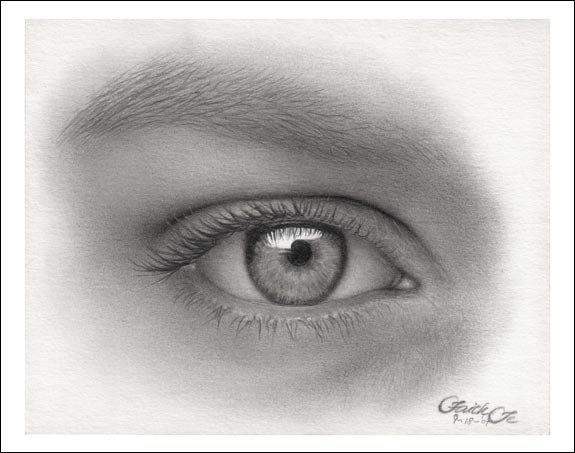 female eye pencil drawing f fin