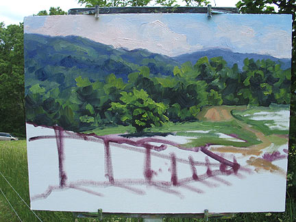 Landscape painting demonstration by Jennifer Young