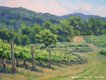 Vineyard landscape painting by Jennifer Young