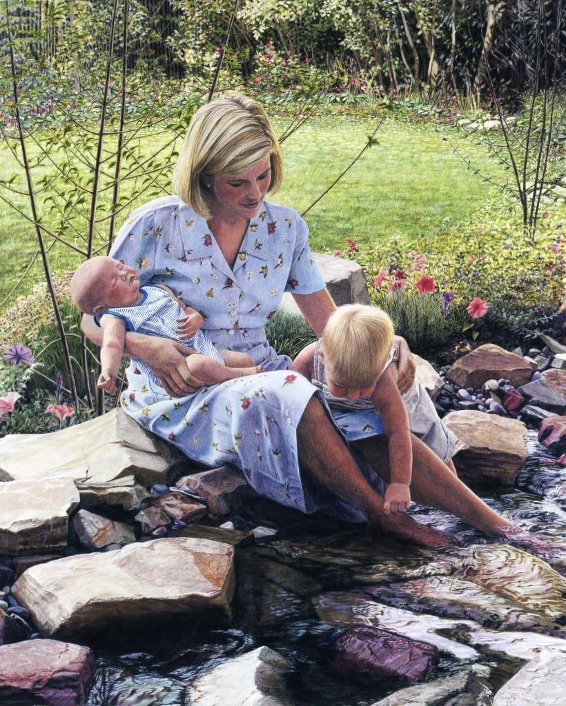 Amanda and Her Children By Sheri Lynn Boyer Doty - Colored Pencil Artist
