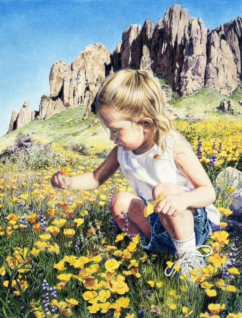 "Colored Pencil Sgraffito Example ""Desert Flower"" By Sheri Lynn Boyer Doty"