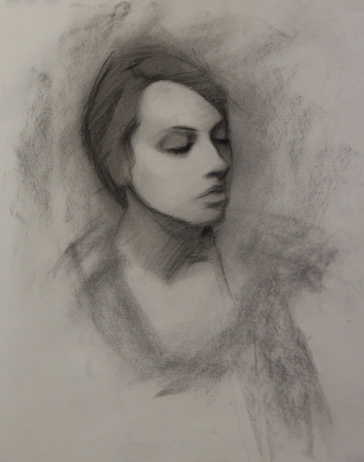 Charcoal portrait drawing tutorial