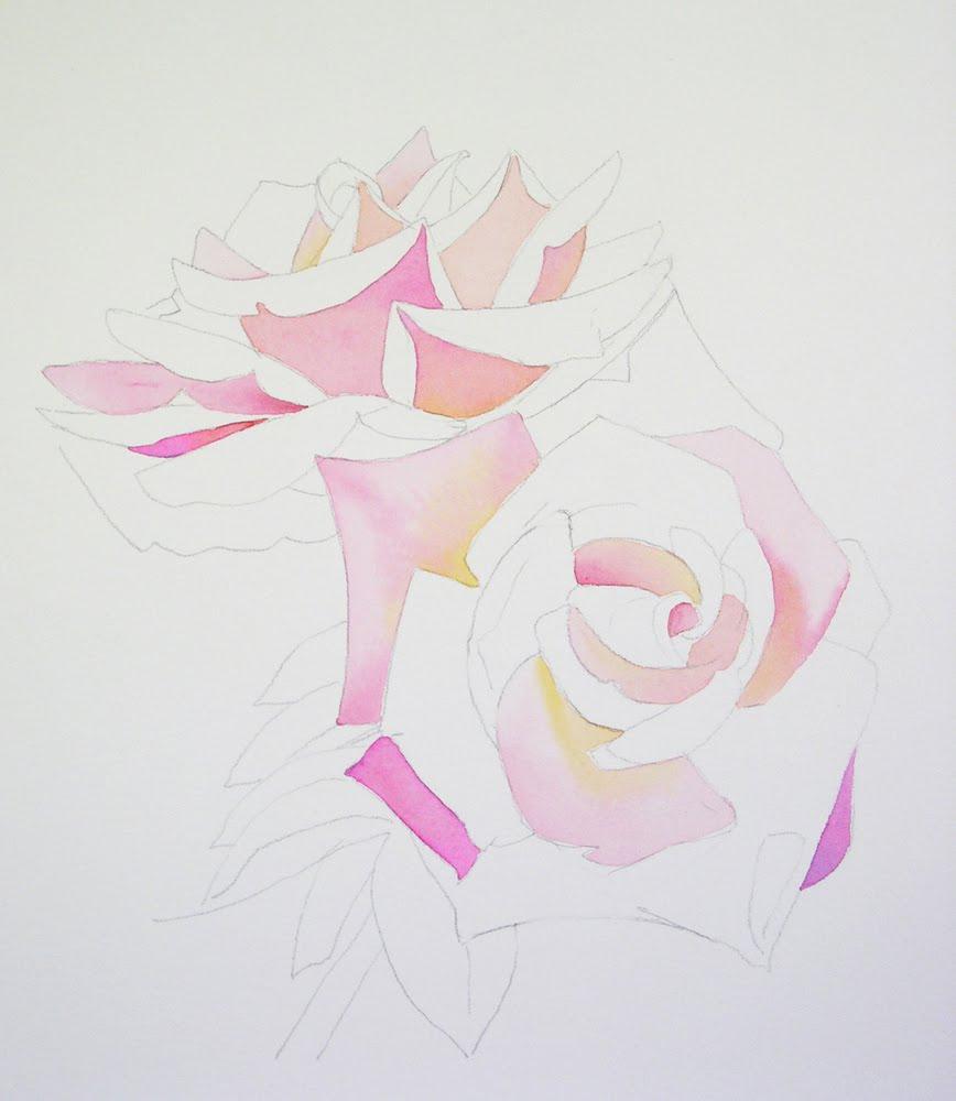 Watercolor Rose Painting Demo 2