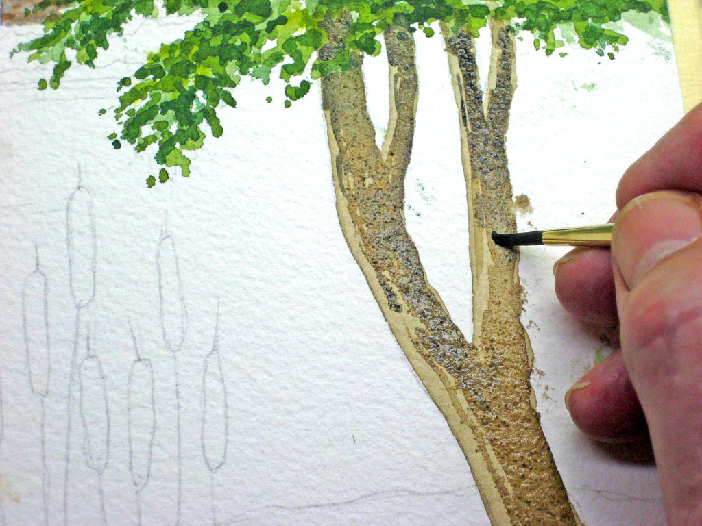 Learn to paint a watercolor landscape demo by john fisher for How to paint a tree