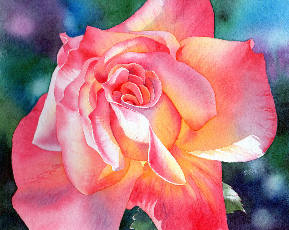 how to paint a flower in watercolour rose demonstration