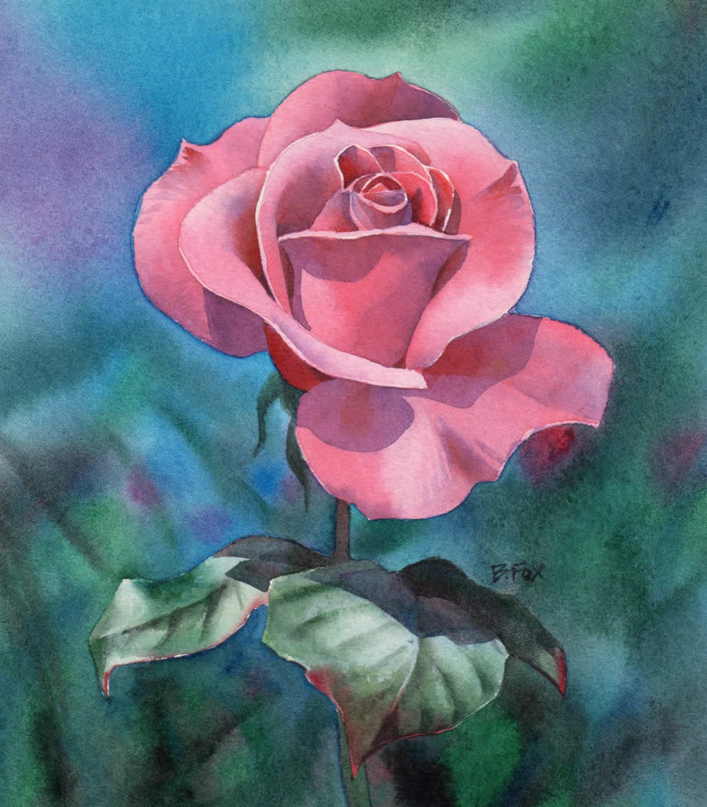 Watercolour painting demonstration perfectly pink rose for Flower paintings on canvas