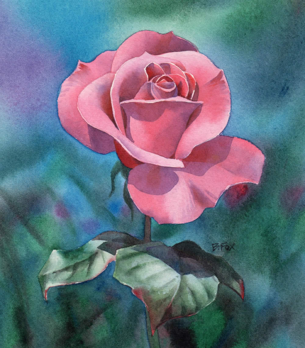 Watercolour painting demonstration perfectly pink rose for How to paint a rose watercolor
