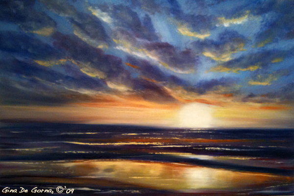 sunset oil painting demo 1