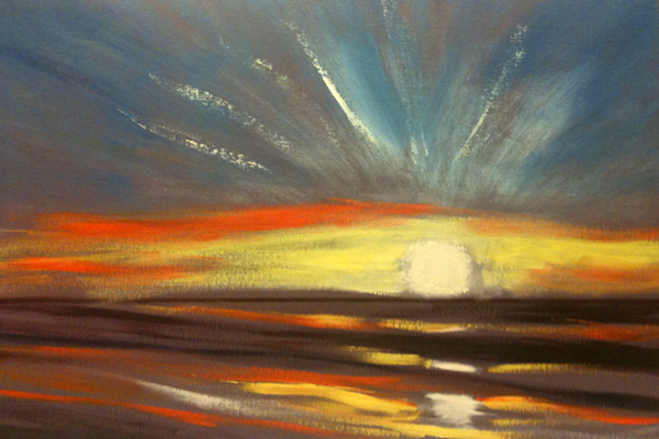 how to paint a sunset in oils