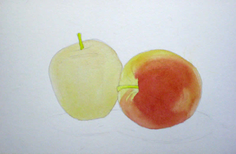 how to paint an apple in watercolour