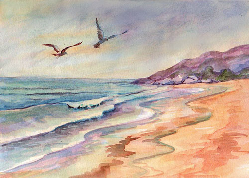 watercolor seascape finished
