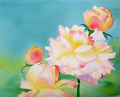 aquarela demonstração rosas 3