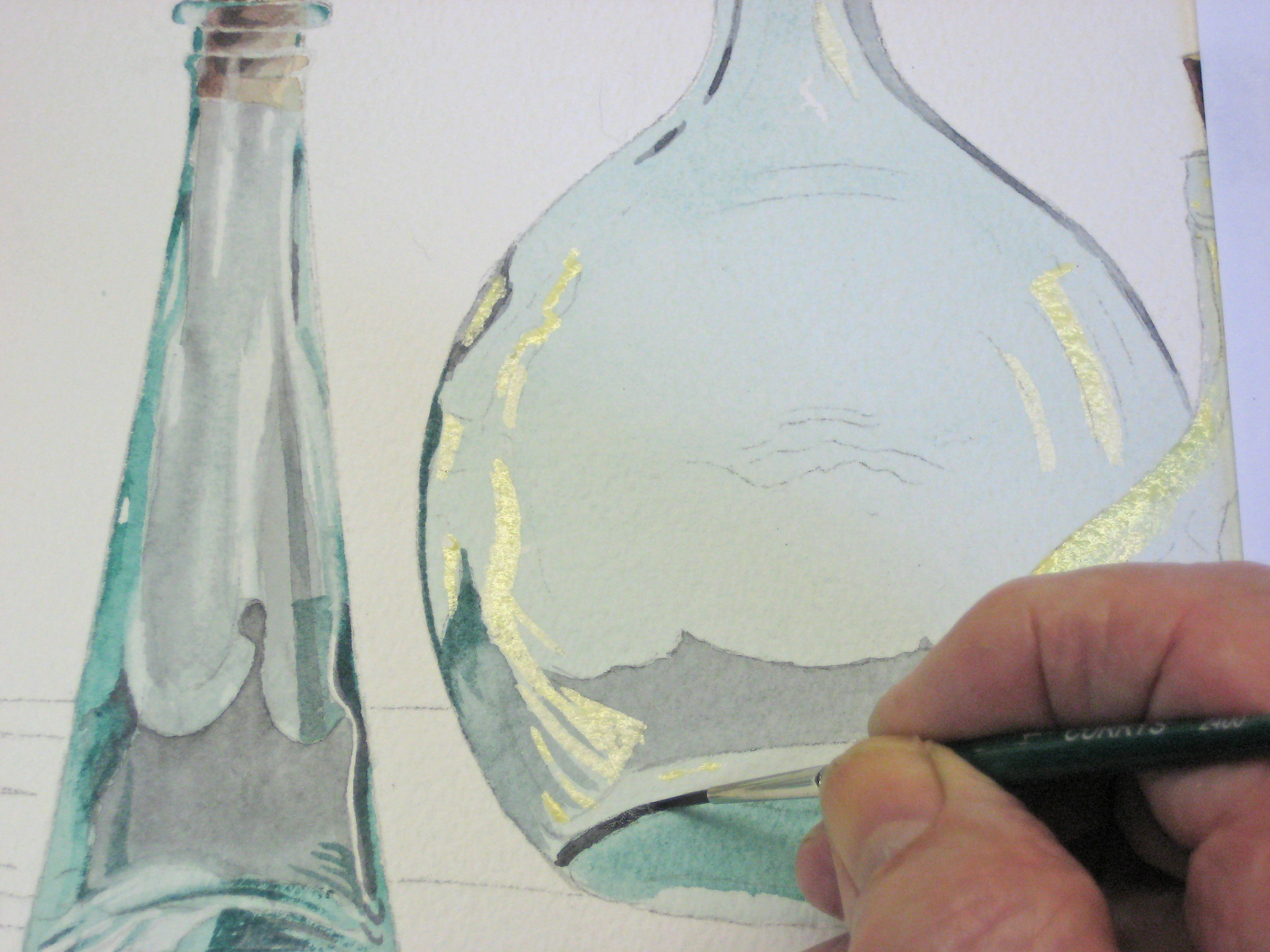 Green Bottles - A Watercolor Demo