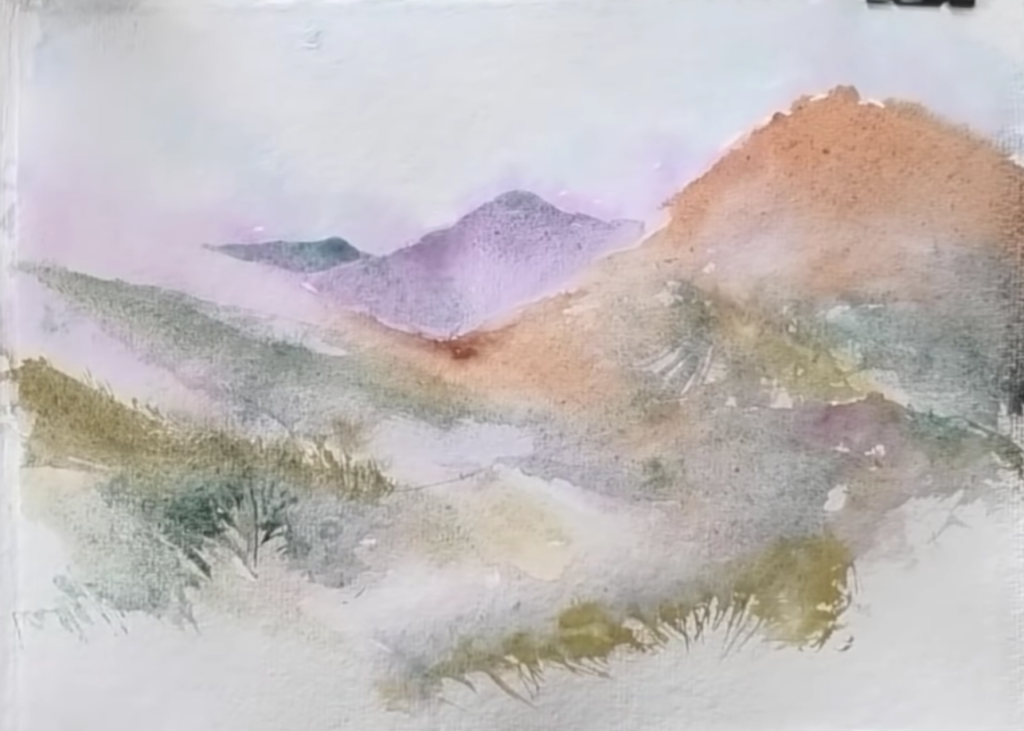 Simple Watercolour Landcape Painting Tutorial for Beginners by Angela Fehr