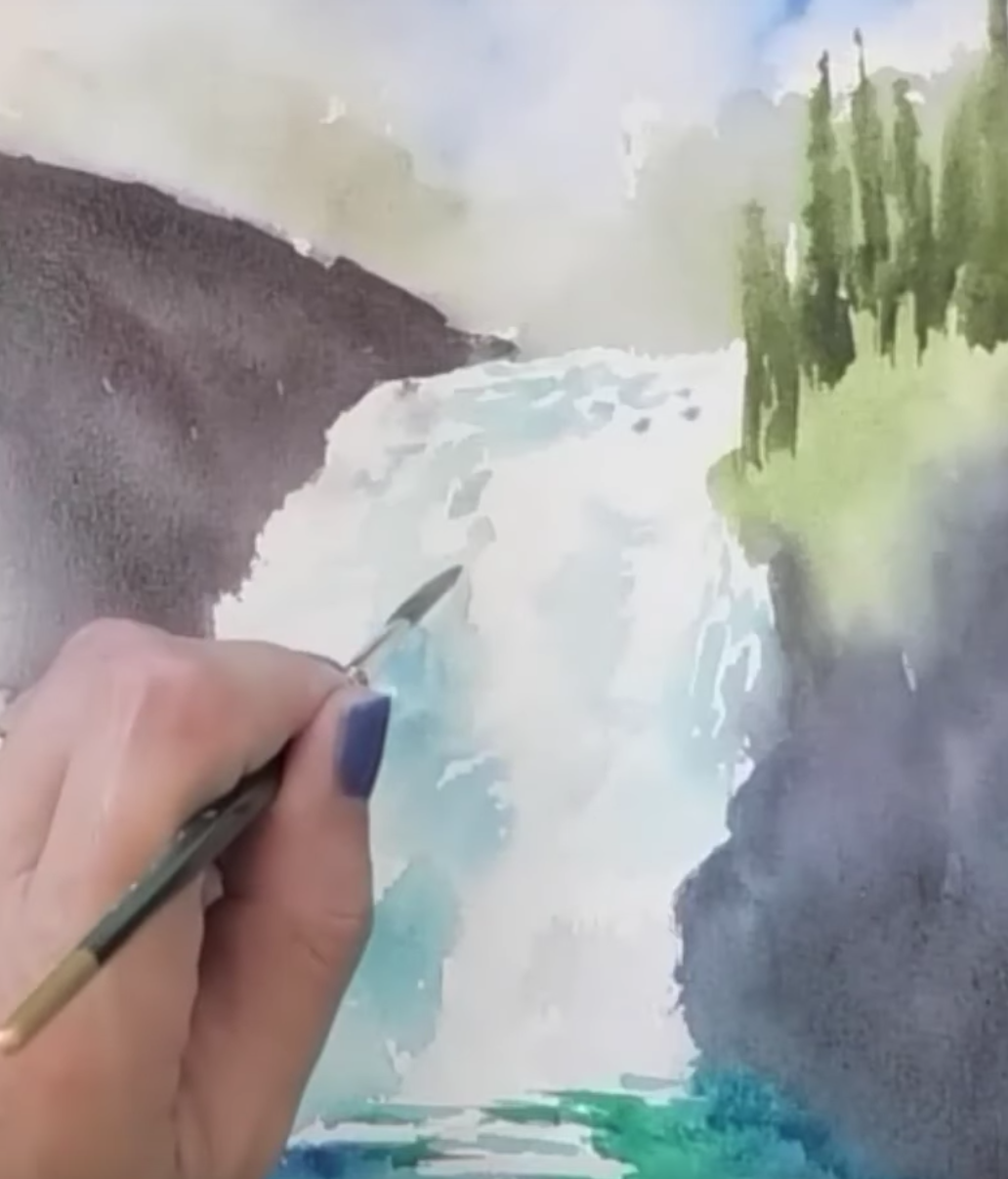 How to Paint a Waterfall in Watercolor for Beginners
